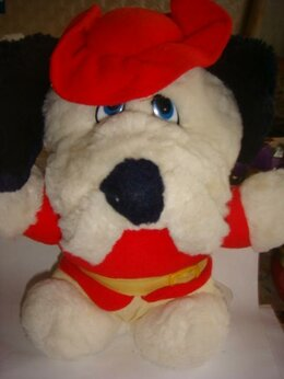 Мягкие игрушки - Мягкая игрушка собака в шляпе Италия винтаж 90х, 0