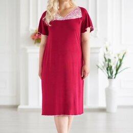 Домашняя одежда - Сорочка женская вискозная бордовая, двухцветное кружево на верхней части изделия, 0