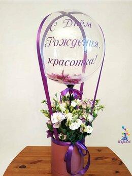 Воздушные шары - Шляпная коробка с цветами и шаром №14, 0
