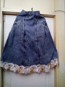 Юбки - Юбка джинсовая  46 размер с кружевом, 0
