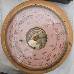 Метеостанции, термометры, барометры - барометр настенный, в деревянном корпусе, СССР, 0