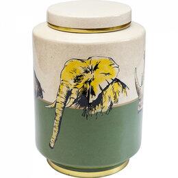 Бочки - Емкость керамическая бежево-зеленая 33 см Wild…, 0