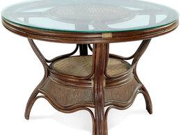 Столы и столики - Обеденный cтол D 120 см, ротанг натуральный, 0