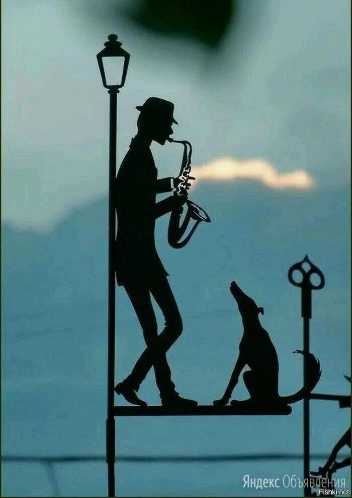 Флюгер Саксофонист с собакой по цене 1600₽ - Флюгеры, фото 0
