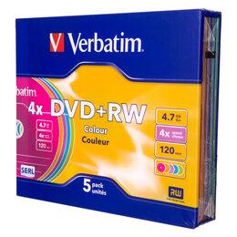 Диски - Диск DVD+RW Verbatim 4.7 Gb, 4x, Slim Case (5), Co, 0