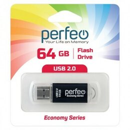 USB Flash drive - Флэшка 64Gb USB 2.0 Perfeo E01 Black, черный цвет, 0