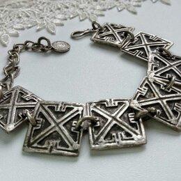 Браслеты - Шикарный антикварный браслет мельхиор серебрение, 0