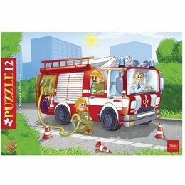 Пазлы - Пазл 12 элементов «Пожарная машина» в рамке 200х300 мм А4, 0