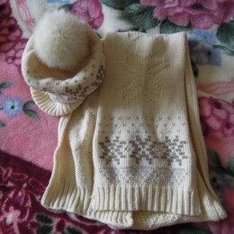 Головные уборы - Шапка с шарфом, помпон песец, 0