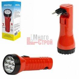 Настольные игры - Аккумуляторный светодиодный фонарь 7 LED с прямой зарядкой Smartbuy, красный, 0