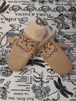 Перчатки и варежки - Детские варежки для девочек из экокожи, артикул:…, 0