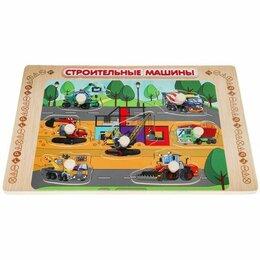 Развивающие игрушки - Игрушка деревянная рамка-вкладыш «строительные машины» Буратино в кор.100шт, 0
