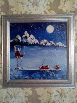 Картины, постеры, гобелены, панно - Картина маслом Зима (Зимняя вишня) зимний пейзаж, 0
