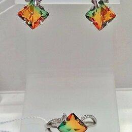 Комплекты - Серьги и кольцо серебро 925пр. камень Турмалин, форма квадрат, ТРИколор. НОВОЕ., 0