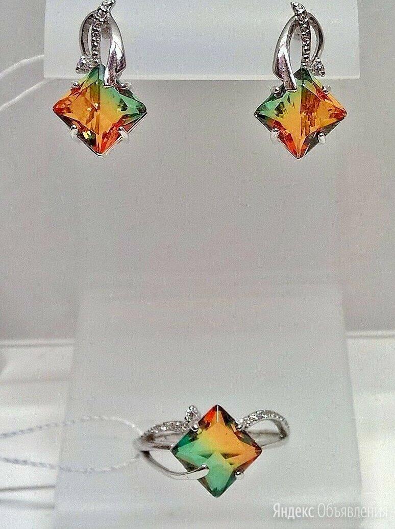 Серьги и кольцо серебро 925пр. камень Турмалин, форма квадрат, ТРИколор. НОВОЕ. по цене 6000₽ - Комплекты, фото 0