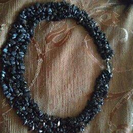 Колье и бусы - ожерелье из крошки натуральных камней, длина 50см, 0