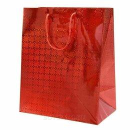 Подарочная упаковка - Пакет подарочный Голография-2 26х32 см, красный, 0