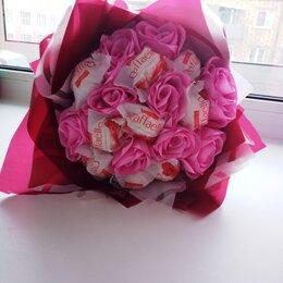 Цветы, букеты, композиции - букет роз из лент и рафаэлок, 0