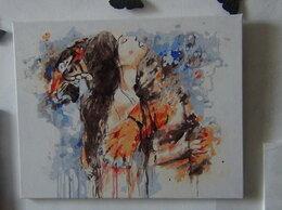 """Картины, постеры, гобелены, панно - Картина """"Девушка и Тигр"""", краски (0,49 Х 0,39), 0"""