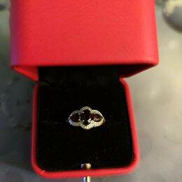 Кольца и перстни - Золотое колечко с гранатом и бриллиантами, 0