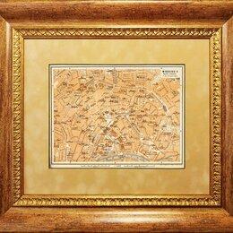 Гравюры, литографии, карты - Старинная карта 1900-е гг. Центр Москвы, в обрамлении R1475, 0