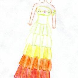 Картины, постеры, гобелены, панно - Девушка в бальном платье рисунок, 0
