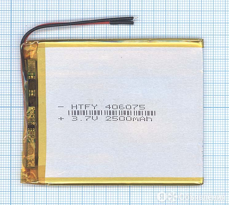 Аккумулятор Li-Pol (батарея) 4*60*75мм 2pin 3.7V/2500mAh по цене 390₽ - Аккумуляторные батареи, фото 0