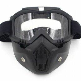 Мотоэкипировка - Маска кроссовая MZ-1 оправа черная, линза прозрачная с защитой лица, 0