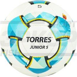 Развивающие игрушки - Мяч футбольный Torres Junior 5 №5 глянц ПУ ручн сш 3 слоя 32 пан бело-голуб-сер, 0