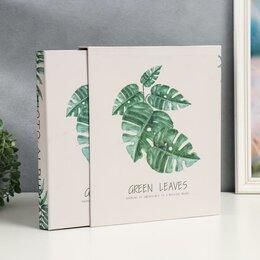 Фотографии, письма и фотоальбомы - Фотоальбом на 200 фото 13х18 в коробке 'Пальмовые листья' 25,8х31х5,5 см, 0