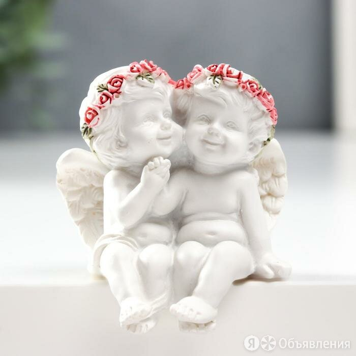 """Сувенир полистоун """"Белоснежные ангелочки в розовых венках, милуются"""" 6х5,5х4 см по цене 341₽ - Мебель для кухни, фото 0"""