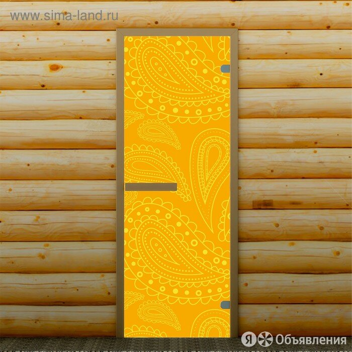 Дверь для бани и сауны Перья, 190 х 70 см, с фотопечатью 6 мм Добропаровъ по цене 11199₽ - Двери, фото 0