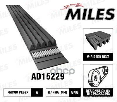 Ремень П/К 5pk848 Miles арт. AD15229 по цене 300₽ - Двигатель и комплектующие, фото 0