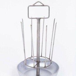 Аксессуары для грилей и мангалов - Шашлычница на 8 шампуров с алюминиевой сковородой, 0