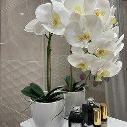 Искусственные растения - Орхидея искусственный цветок в кашпо, 0