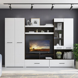 Шкафы, стенки, гарнитуры - Гостиная Ненси-1 венге/белый глянец 💥 0730💥, 0