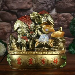 Декоративные фонтаны - Фонтан настольный от сети, подсветка 'Слоны с золотыми слитками' 32х33х20 см, 0