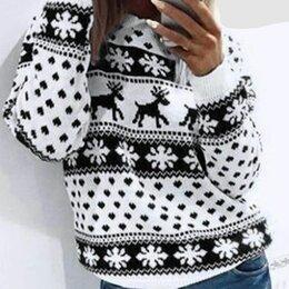 Свитеры и кардиганы - Новогодний свитер женский с оленями р-ры 40-50, 0