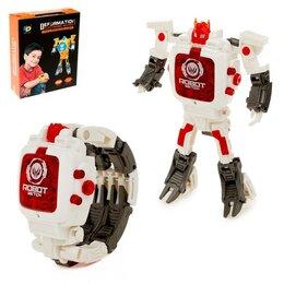 Роботы и трансформеры - Робот «Часы», трансформируется в часы, работает от батареек, цвет белый, 0