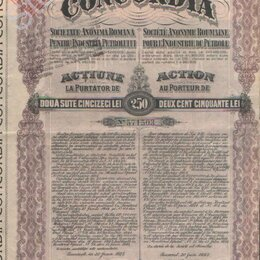 Документы - Акция на 250 лей.Румынская компания Конкордия.1923 г.№571503, 0