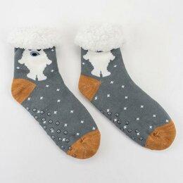 Домашняя одежда - Носки женские с мехом внутри Нжмех30597-5-01 Медведь цвет серый, р-р 23-25 (р..., 0