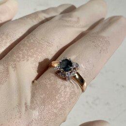 Кольца и перстни - Золотое кольцо с сапфиром и бриллиантом , 0