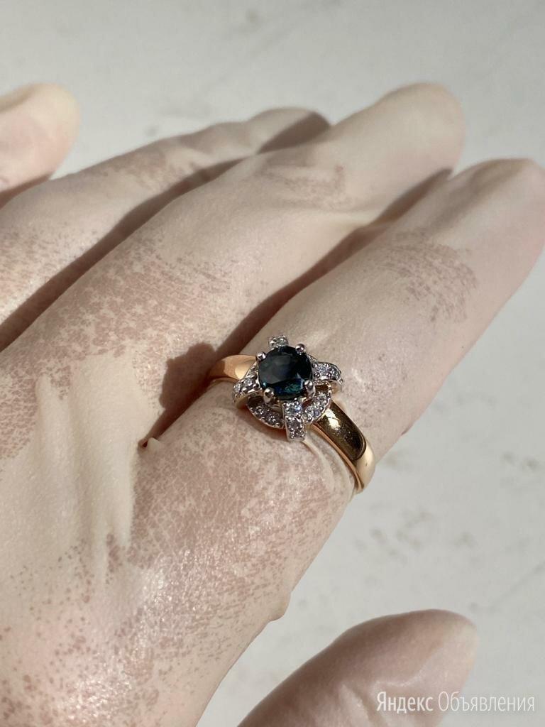 Золотое кольцо с сапфиром и бриллиантом  по цене 80000₽ - Кольца и перстни, фото 0