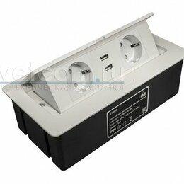 Электроустановочные изделия - Блок розеток выдвижной горизонт, 2 розетки EURO, 2 USB, 250В, max 2700Вт, кабель, 0