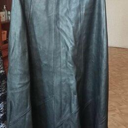 Юбки - Длинная юбка из натуральной кожи, 0