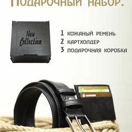Ремни и пояса - Подарочный набор мужчине: кожаный ремень, картхолдер, деревянная коробка, 0