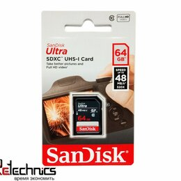 Карты памяти - Флеш карта SD 64GB SanDisk SDXC Class 10 UHS-I Ult, 0