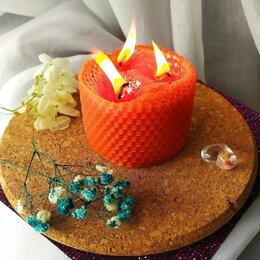 Декоративные свечи - Свеча с тремя фитилями ручной работы, 0
