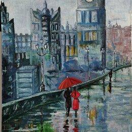 Картины, постеры, гобелены, панно - Пара под зонтом, картина маслом холст на ДВП40х70, 0
