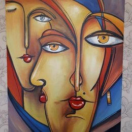 Картины, постеры, гобелены, панно - Картина 80x100 холст, масло, направление *Кубизм*, 0